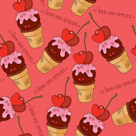 Seamless background with chocolate ice cream Vector