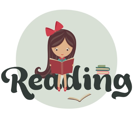 cartoon reading: Little girl reading books Illustration