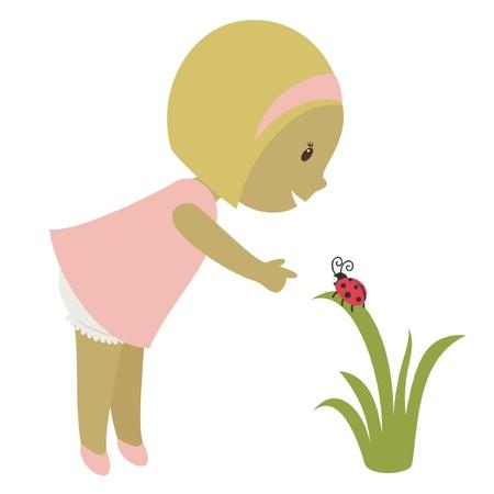 surprising: Blond little girl looking on a ladybug. Vector cartoon illustration