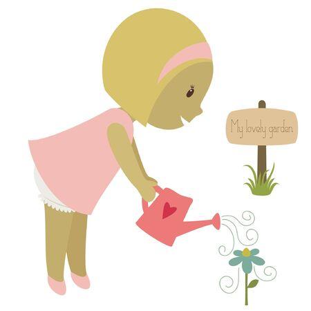 놀라운: 꽃에 물을 금발 소녀. 벡터 만화 일러스트 레이 션