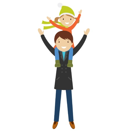 father: Happy father and daughter, sitting on his shoulders, isolated on white. Vector illustration Illustration