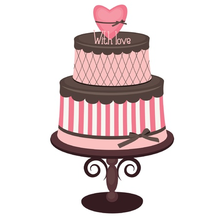Pink and chocolate cake with heart, isolated on white Vector