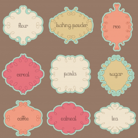 Kitchen words retro labels design Vector