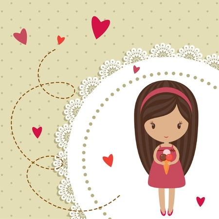 Romantic card with little girl Vector