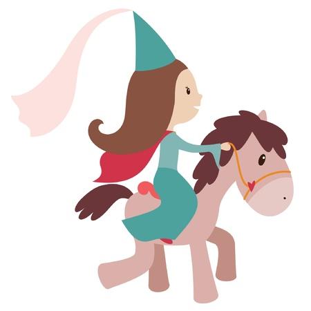 Ilustración vectorial de la princesa en un caballo. Aislados en blanco Foto de archivo - 17587598