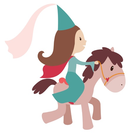 Vector illustration of princess on a horse. Isolated on white Vector