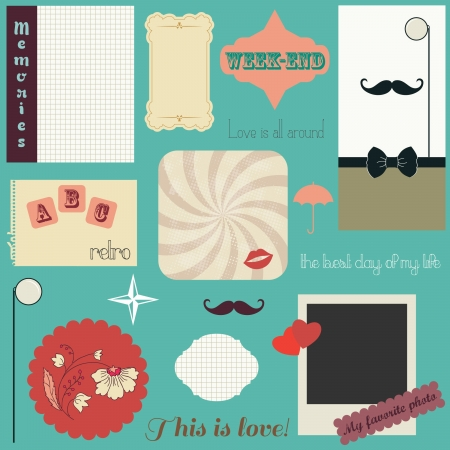mustaches: Retro papers and labels design