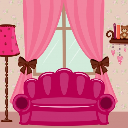 sconce: Beautiful girlish living room with pink sofa Illustration