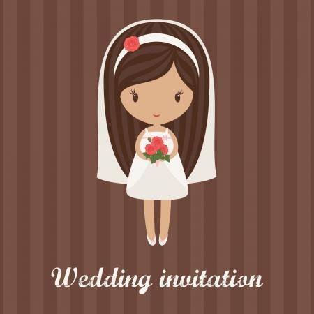 Dibujos animados novia romántica que sostiene el ramo de rosas en una invitación de boda de fondo con rayas Ilustración de vector