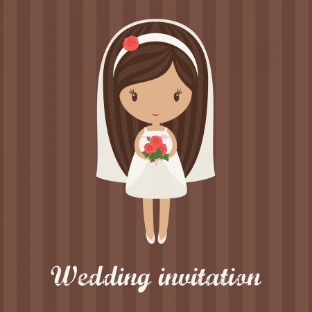 wedding dress: Romantic cartoon bride holding bouquet of roses on a striped background  Wedding invitation Illustration
