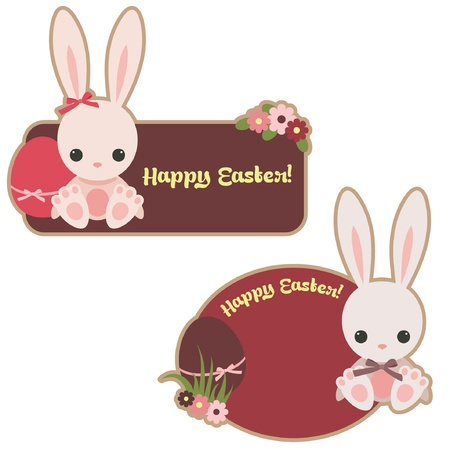Easter stickers with bunnies and eggs