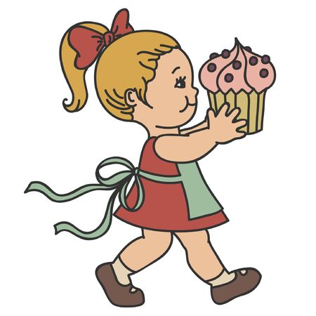 little chef: Toddler girl with muffin