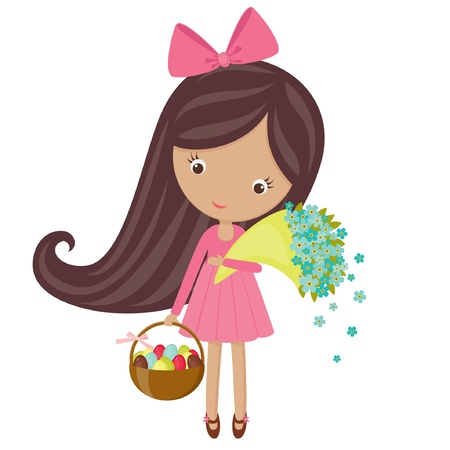Little girl  with bouquet of flowers and a basket with Easter eggs
