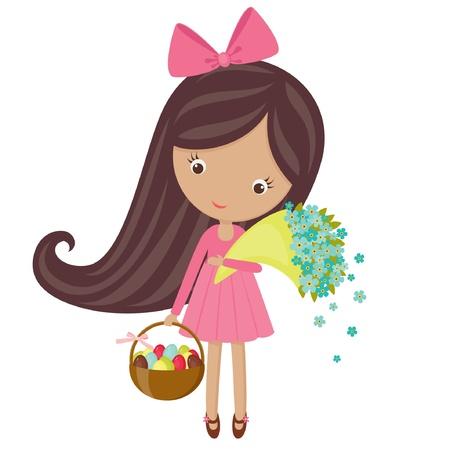 Meisje met boeket van bloemen en een mand met Pasen eieren