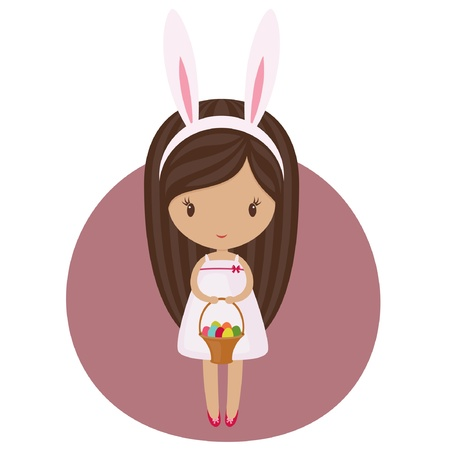 Little girl in a bunny costume with an Easter basket Ilustrace