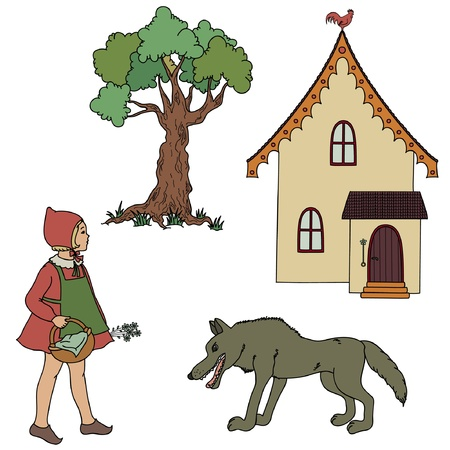 caperucita roja: Vintage Little Red Riding Hood, la abuela de la casa, un lobo y un árbol