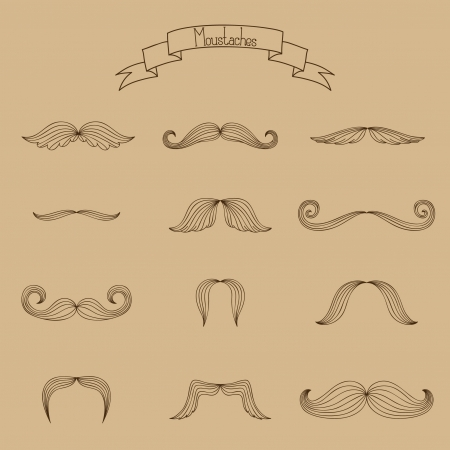mustaches: Mustaches vector hand drawn collection