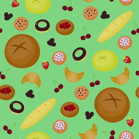 stuff: Seamless background design  Bakery stuff and flavors Illustration