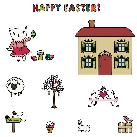 Easter of little kitten  Cartoon illustration  Hand drawn colorful elements, isolated on white Vector