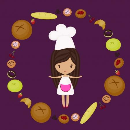 chef caricatura: Little baker chica con productos de panadería en todo