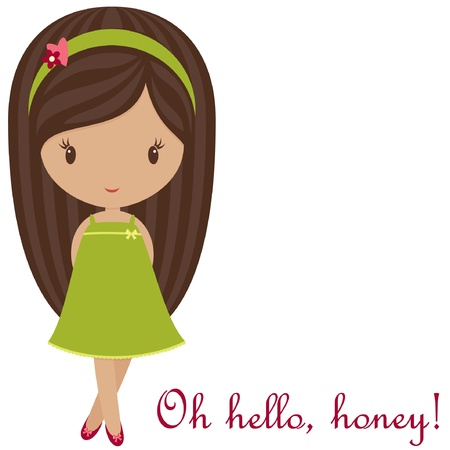 nice hair: Greetings from cute little girl  Illustration