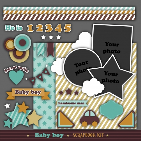Scrapbook retro kit  Baby boy Stock Vector - 18490879