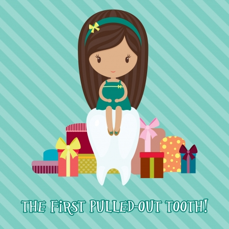 Little girl with a lot of gifts for the first pulled-out tooth Vector
