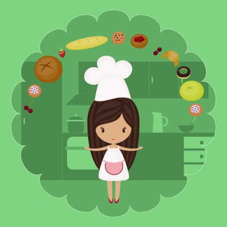 Little baker girl with bakery goods in a kitchen