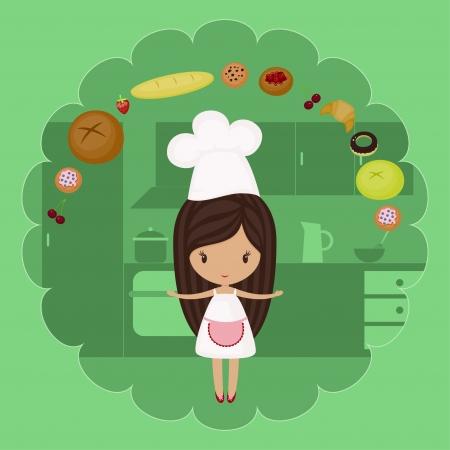 panadero: Niña panadería con productos de panadería en una cocina Vectores