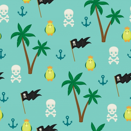 Seamless pirate island illustration kids background pattern