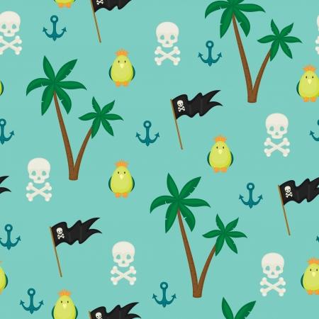 boyish: Seamless pirate island illustration kids background pattern