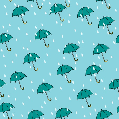 Seamless umbrella and rain background pattern in vector