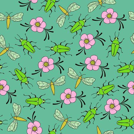 Floral spring seamless wallpaper Illustration