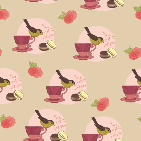 Vintage seamless wallpaper design  Bird on a cup and macaroons