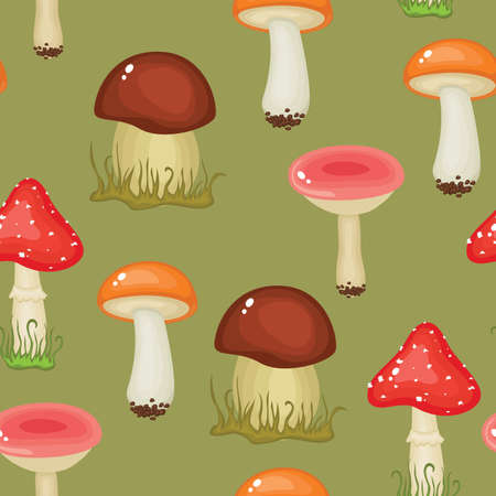 cep: Seamless wallpaper with mushrooms Illustration