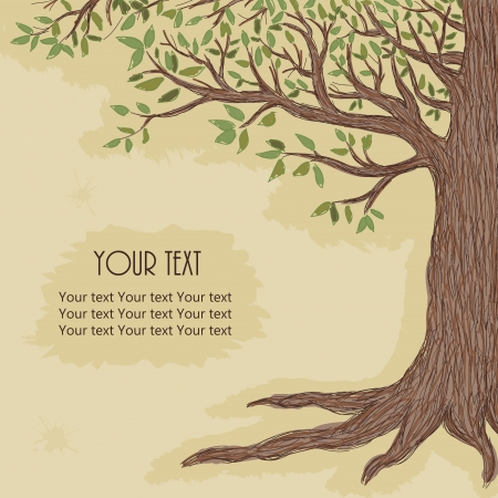 tree illustration: Hand drawn tree with space for text