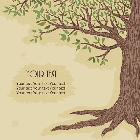 Hand getekende boom met ruimte voor tekst