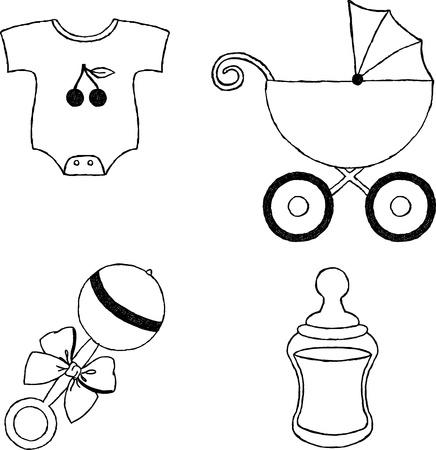 sonaja: Cuatro iconos sin color artículos de belleza Vectores