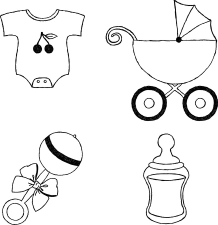 Uncolored four baby stuff icons Vector