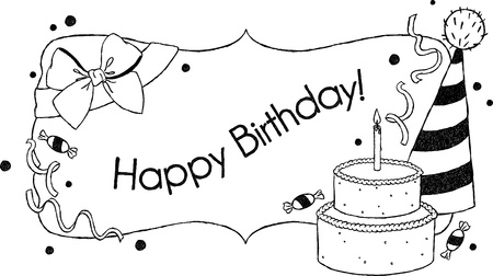 uncolored: Birthday card  Uncolored hand drawn  birthday greetings with a cake, hat and bow