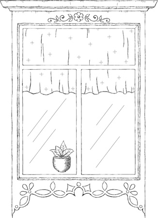 window curtain: Hand drawn illustration of vintage window