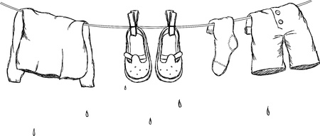 drying: Laundry cord with wet clothes  Vintage vector uncolored illustration Illustration