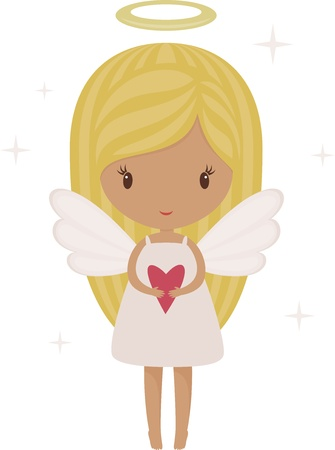 angel alone: Angel girl isolated with heart Illustration