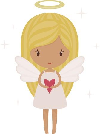 Angel girl isolated with heart Stock Illustratie