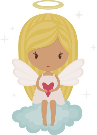 cute angel: Angel girl on a cloud with heart Illustration