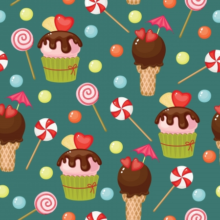 Sweet assortment retro wallpaper Vector