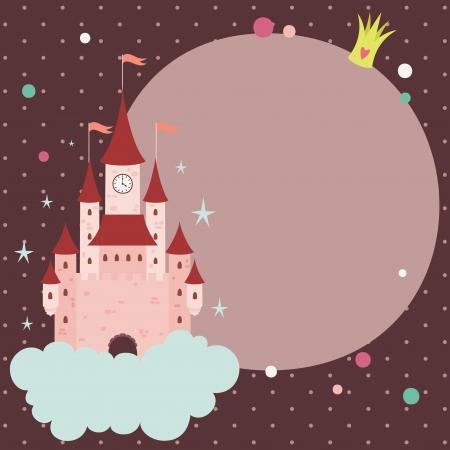 princess: Principessa sfondo con il castello e lo spazio per il testo Vettoriali