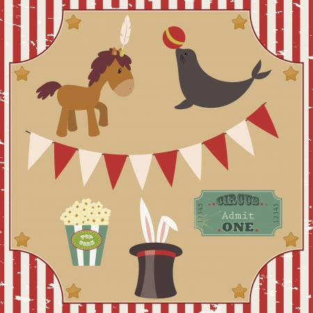circus ticket: Set of circus vector clip-art