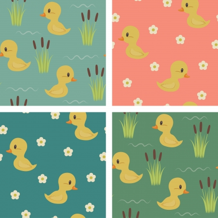 baby swim: Seamless baby ducks wallpapers design