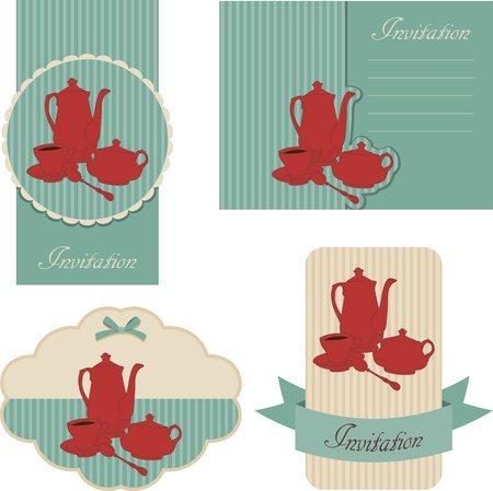five o'clock: Blue retro invitations design. Tea time. Illustration